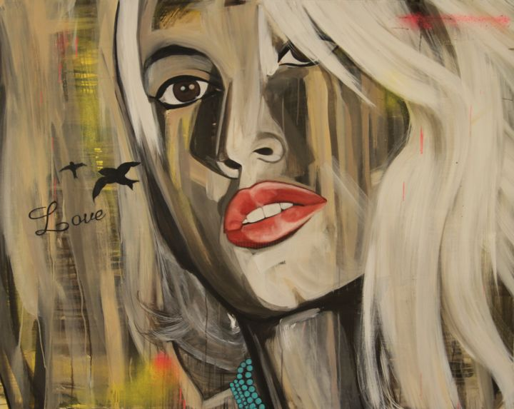 """""""Age of the Selfie 2"""" - Painting,  48x60x1.5 in, ©2014 by Melissa Beaulieu -                                                                                                                                                                                                                                                                                                                                                                                                                                                                                                                                                                      Portraits, Tattoo, Girl, Woman, Selfie, Red Lips, Brown Eyes, White Hair, Love, Love Birds, Woman with a tattoo Love, Femme au cheveu blond platine avec tattoo Love"""