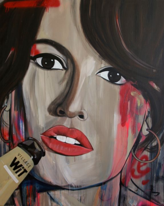 """Age of the Selfie 5"" - Painting,  60x48x1.5 in, ©2014 by Melissa Beaulieu -                                                                                                                                                                                                                                                                                                                                                                                                                                                                                                                                                                      Portraits, Beer, Girl, Woman, Graffiti, Spray Painting, Brown Eyes, Brown Hair, Portrait, Selfie, Red Lips, Woman drinking beer portrait"