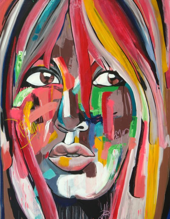 Wild Life Brigitte - Painting,  60x48x1.5 in, ©2014 by Melissa Beaulieu -                                                                                                                                                                                                                                                                                                                                                                                                                                                                              People, Colourful Portrait of Girl Original Painting, Art, Contemporary Modern Art, Big lips, pink lips, Brown eyes, woman, femme, fille