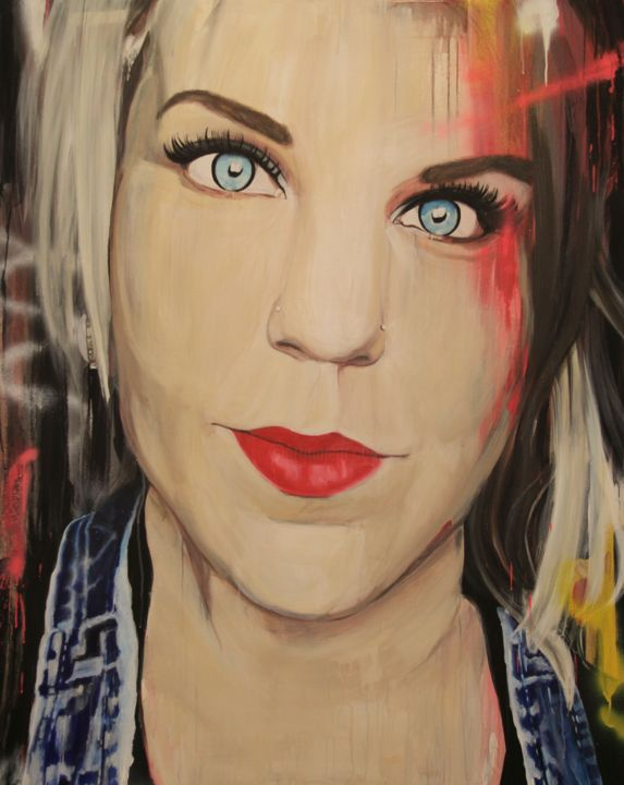 """""""Age of the Selfie Caroline"""" - Painting,  60x48x1.5 in, ©2014 by Melissa Beaulieu -                                                                                                                                                                                                                                                                                                                                                                                                                                                                                                                          Portraits, Portrait of a girl with graffiti, Contemporary Original Painting, modern, art, red lips, pink, woman, femme, fille, blue jeans"""