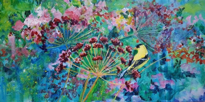 """Painting titled """"Goldfinch in My Gar…"""" by Melissa Pierson, Original Art, Acrylic"""