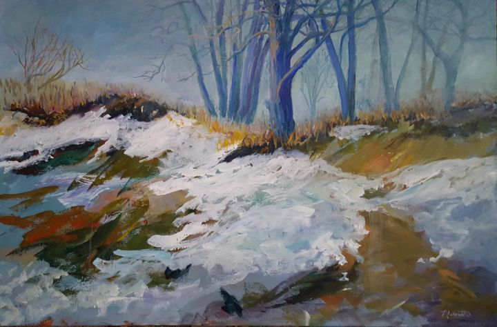 """Painting titled """"February Thaw"""" by Melissa Pierson, Original Art, Acrylic"""