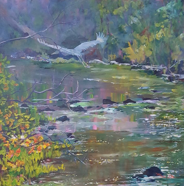 """Painting titled """"Sparkling Stream"""" by Melissa Pierson, Original Art, Acrylic"""