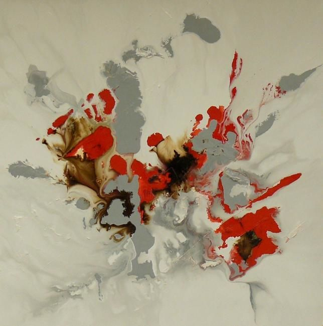 COQUELICOT - Painting,  39.4x39.4 in, ©2012 by Melle -                                                                                                                                                                          Abstract, abstract-570, Tableau abstrait