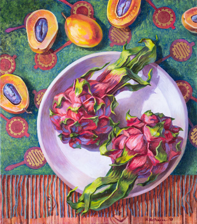 Tropical breakfast. February - Malerei,  15,8x13,8x0,8 in, ©2018 von Maria Meltsaeva -                                                                                                                                                                                                                                                                                                                                                                                                                                                                                                                                                                                                                                                                                                                                                                                                                                                                                                                                                                                                                                                                                              Impressionism, impressionism-603, Still-Leben, tropical, vivid, flat lay, still life, plum, orange, green, tropical style, pink, pattern, plate, vertical, contemporary, kitchen, thailand, fruit, dragon fruit, pitaya, pitahaya, food