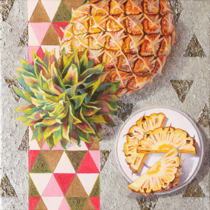 Sweet pineapple - Pintura,  11,8x11,8x0,8 in, ©2019 por Maria Meltsaeva -                                                                                                                                                                                                                                                                                                                                                                                                                                                                                                                                                                                                                                                                                                                                                                                                                                                                                                                                                                                                      Impressionism, impressionism-603, Naturaleza muerta, still life, nature morte, pineapple, yellow, silver, gray, tropical, fruit, tropical style, vivid, contemporary, pink, square, kitchen, tropical interior, flat lay, russian artist, thailand