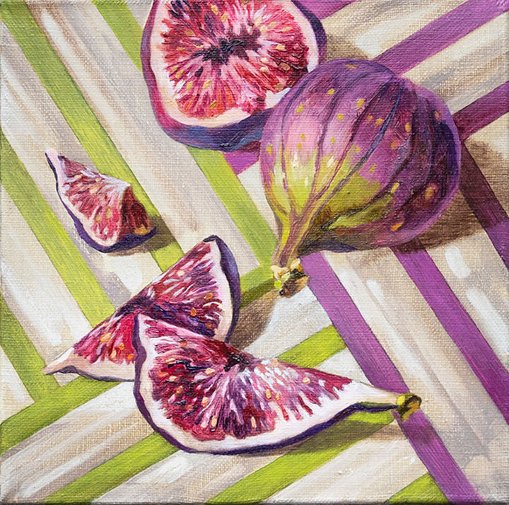 """Sweet figs"" from series ""Stripes go well with everything"" - Painting,  7.9x7.9x0.8 in, ©2018 by Maria Meltsaeva -                                                                                                                                                                                                                                                                                                                                                                                                                                                                                                                                                                                                                                                                                                                                                                                                                                              Still life, Food & Drink, fig, still life, nature morte, Quadriptych, stripes, green, violet, purple, east, fruit, oriental, rustic, linen, rural, flat lay, fucsia"