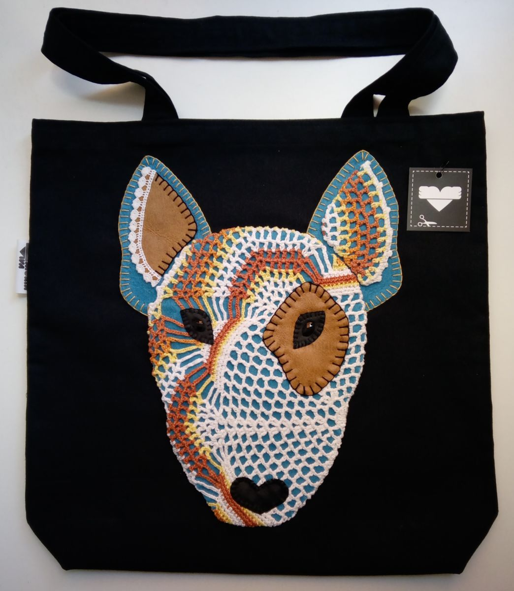 Unique Handstiched Bull Terrier Shoulder Bag - Textile Art ©2018 by Memória Viva -            bull terrier, memoria viva