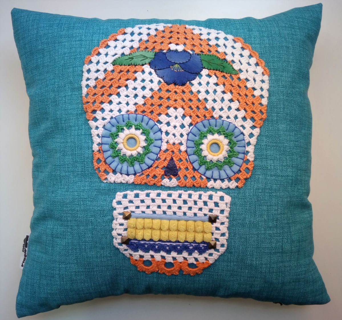 Unique Handstiched Mexican Skull Pillow Case - Mixed Media ©2018 by Memória Viva -            memoria viva, pillow, cushion, crochet, skull, coussin, crane