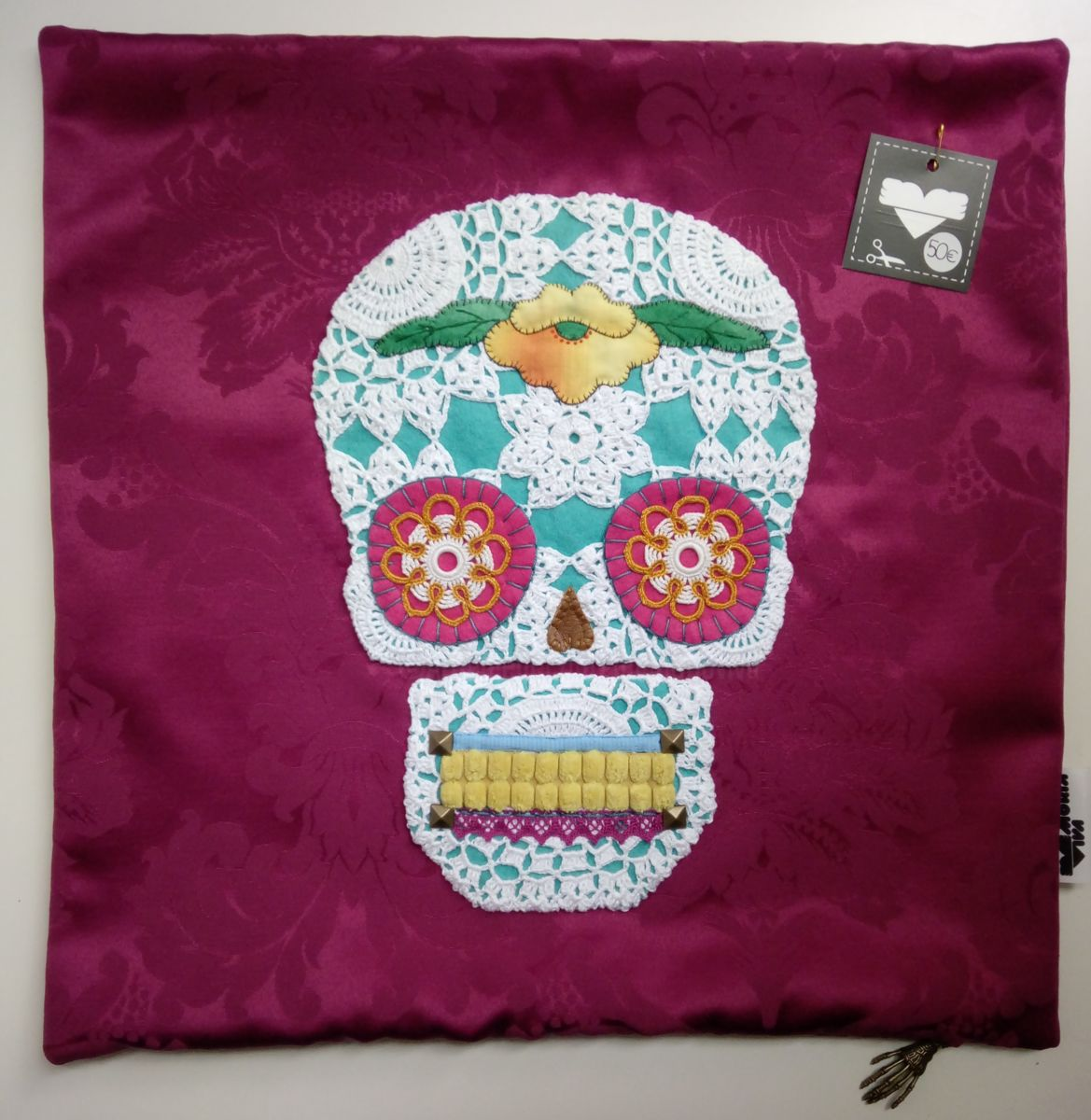 Unique Handstiched Mexican Skull Pillow Case - Mixed Media ©2018 by Memória Viva -            pillow, cushion, day of the dead, crochet, embroidery, memoria viva, mexican skull