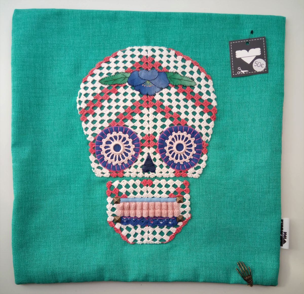 Unique Handstiched Mexican Skull Pillow Case - Mixed Media ©2018 by Memória Viva -            memoria viva, textile art, fiber art, day of the dead, crochet, embroidery, doilie
