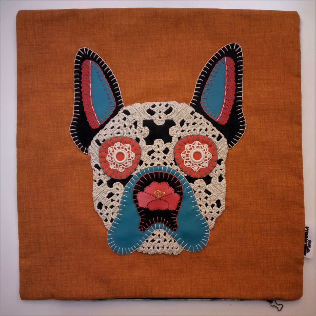 Unique Handstiched Bulldog Pillow Case - Textile Art ©2018 by Memória Viva -