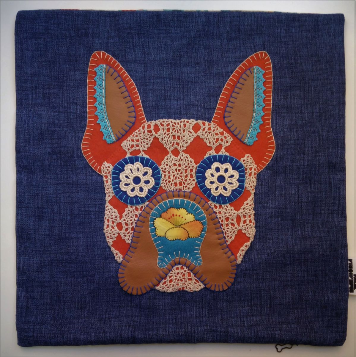 Unique Handstiched French Bulldog Pillow Case - Mixed Media ©2018 by Memória Viva -