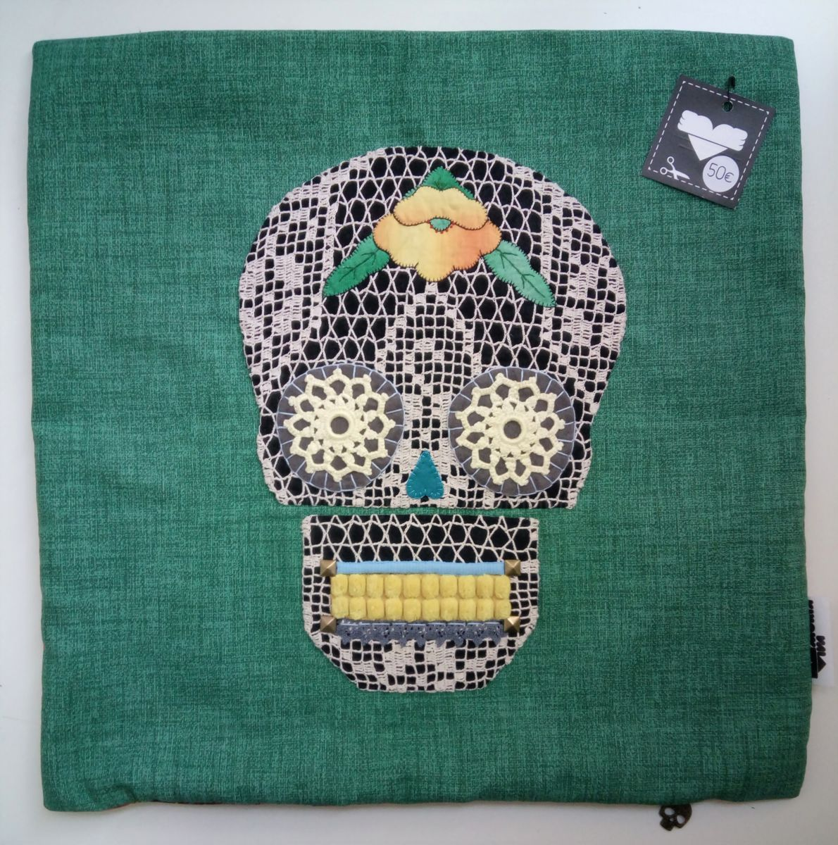 Unique Handstiched Mexican Skull Pillow Case - Mixed Media ©2018 by Memória Viva -            MEXICAN, DAY OF THE DEAD, CATRINA, CROCHET, EMBROIDERY, TEXTILE ART, FIBER ARTS, MEMORIA VIVA