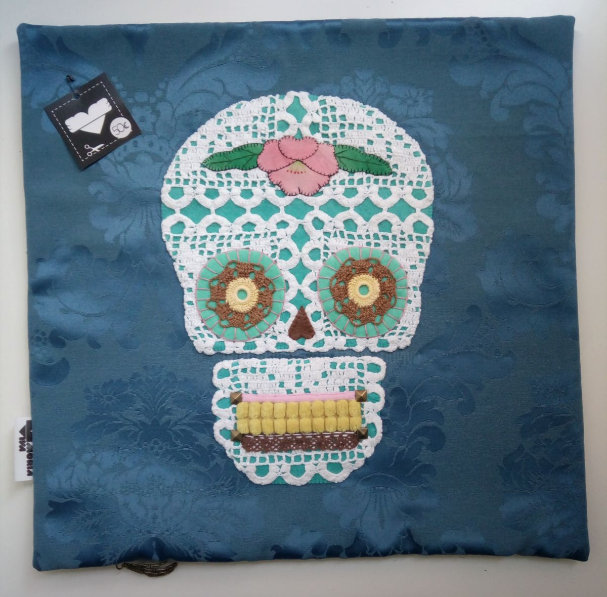 Unique Handstiched Mexican Skull Pillow Case - Mixed Media ©2018 by Memória Viva -            memoria viva
