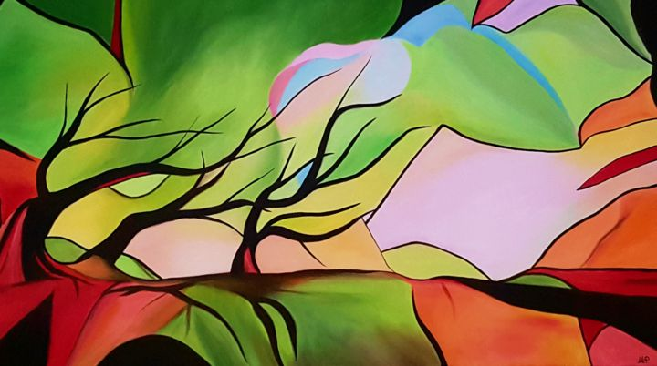A path to somewhere - Painting,  70x120x3 cm ©2019 by Maria Polyzogopoulou -                                                                                                                                Abstract Art, Abstract Expressionism, Art Deco, Contemporary painting, Abstract Art, Colors, Dark-Fantasy, Landscape, Tree, Forest, painting, path, colors, bild, gemälde, abstract, colorful, expressionism