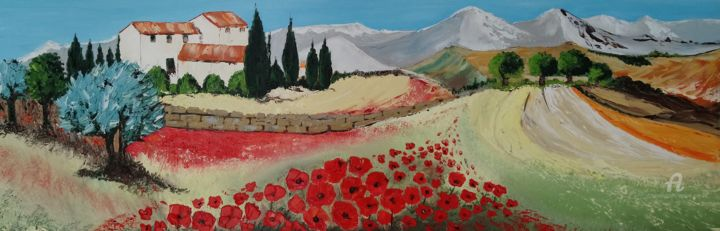 Couleur coquelicots - Painting,  40x90x3.5 cm ©2019 by Jlucmez -                                        Classicism, Nature