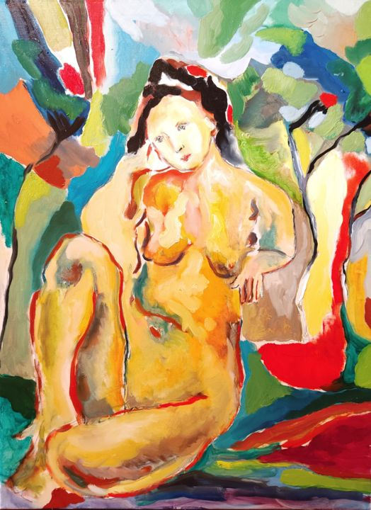 """Painting titled """"""""Seated nude and co…"""" by Suren Mesropyan, Original Art, Oil Mounted on Stretcher frame"""