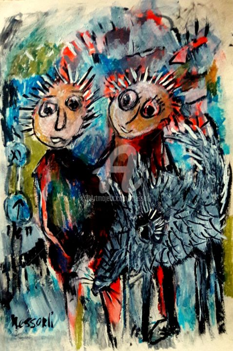 best friends - Painting,  9.5x6.7 in, ©2018 by silvia messerli -