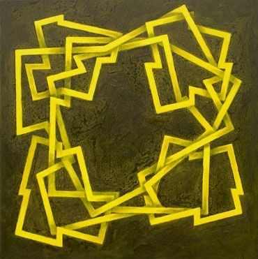 """""""Corro"""" - Painting,  39.4x39.4 in, ©2009 by Manolo Messía -                                                                                                                                                                                                                                                                                                                                                                                                          Geometric, geometric-572, Abstract Art, Abstracto, Geométrico, Amarillo, cuadrado, #artistsupportpledge"""