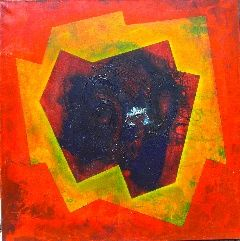 """Cosmogonías V"" - Painting,  39.4x39.4 in, ©2007 by Manolo Messía -                                                                                                                                                                                                                                                                                                                                                                                                                                                      Geometric, geometric-572, Abstract Art, Geométrico, abstracto, Rojo, Amarillo, cuadrado, #artistsupportpledge"