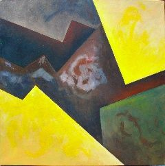 """CosmogoníasIII"" - Painting,  39.4x39.4 in, ©2007 by Manolo Messía -                                                                                                                                                                                                                                                                                                                                                                                                          Geometric, geometric-572, Abstract Art, abstracto, Geométrico, cuadrado, Amarillo, #artistsupportpledge"