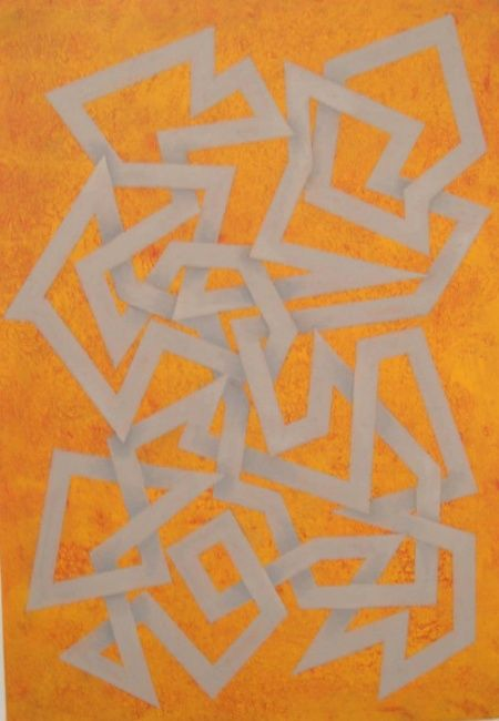 """Viajecalo"" - Painting,  28x19.3 in, ©2006 by Manolo Messía -                                                                                                                                                                                                                                                                                                                                                                                                          Geometric, geometric-572, Abstract Art, abstracto, Geométrico, amarillo, naranja, #artistsupportpledge"