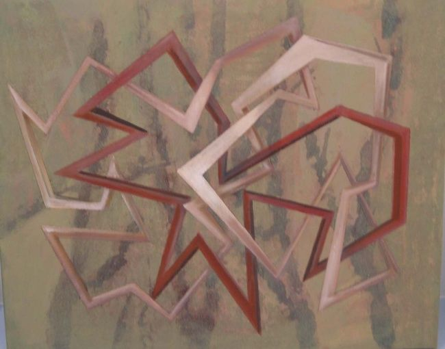 """""""Condenados"""" - Painting,  19.7x24 in, ©2006 by Manolo Messía -                                                                                                                                                                                                                                                                                                                                                              Geometric, geometric-572, Abstract Art, abstracto, pequeño, geométrico, #artistsupportpledge"""