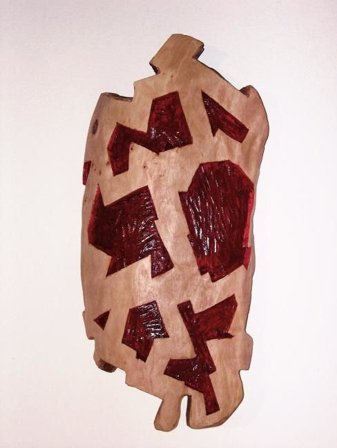 """Coraza"" - Sculpture,  23.2x10.2x3.9 in, ©2003 by Manolo Messía -                                                                                                                                                                                                                                                                                                                                                                                                          Conceptual Art, conceptual-art-579, Abstract Art, #artistsupportpledge, Escultura, Abstracción, madera pintada, Geometría"