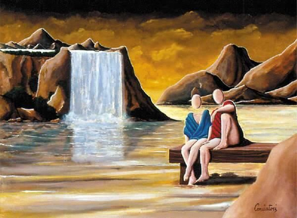 Coppia - Painting,  23.6x31.5 in, ©1999 by Metafisico46 -                                                                                                                                                                                                                                              metafisica, surrealismo, conciatori, metafisico46, pittura. arte pointer mataphysical