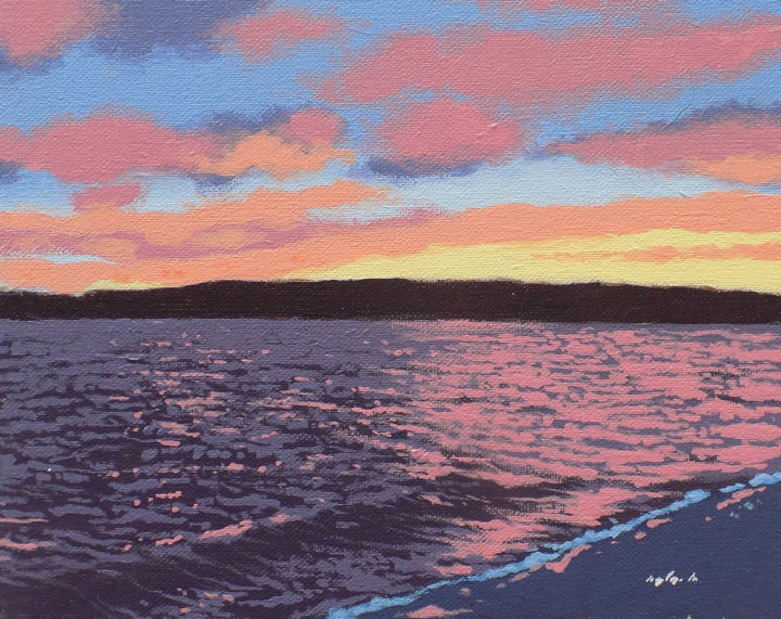 """Painting titled """"Sunset over Holy Lo…"""" by Malc, Original Art, Acrylic"""