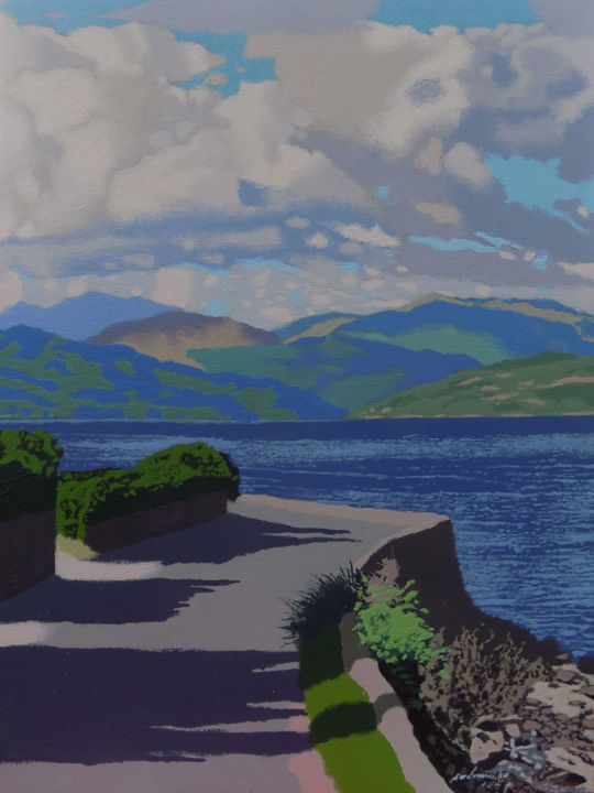 """Painting titled """"Loch Long from Blai…"""" by Malc, Original Art, Acrylic"""