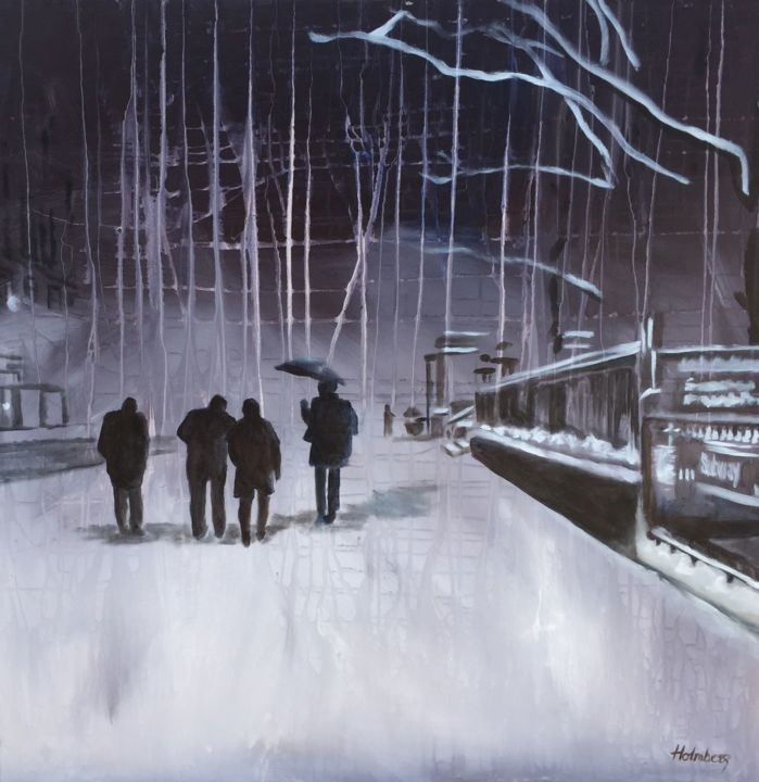 """Painting titled """"5th Avenue"""" by Mette Holmberg, Original Art, Acrylic Mounted on Wood Panel"""