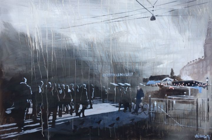 """Painting titled """"Hoejbroplads"""" by Mette Holmberg, Original Art, Acrylic Mounted on Wood Panel"""
