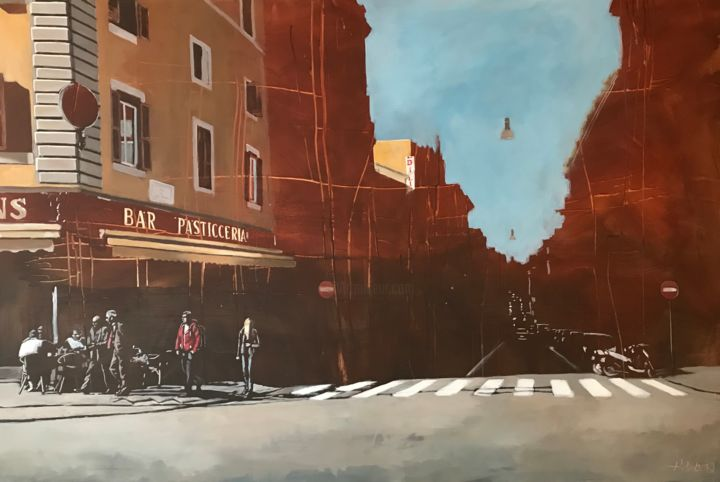 """Painting titled """"Snack Bar"""" by Mette Holmberg, Original Art, Acrylic"""