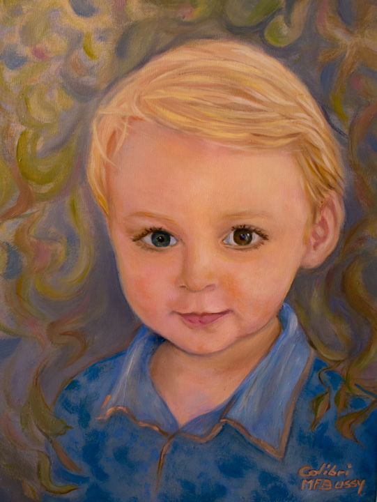 Portrait de Soan - Painting,  13.8x9.5x0.8 in ©2019 by COLIBRI -                                                        Figurative Art, Kids, Portraits, portrait, huile, enfant, figuratif