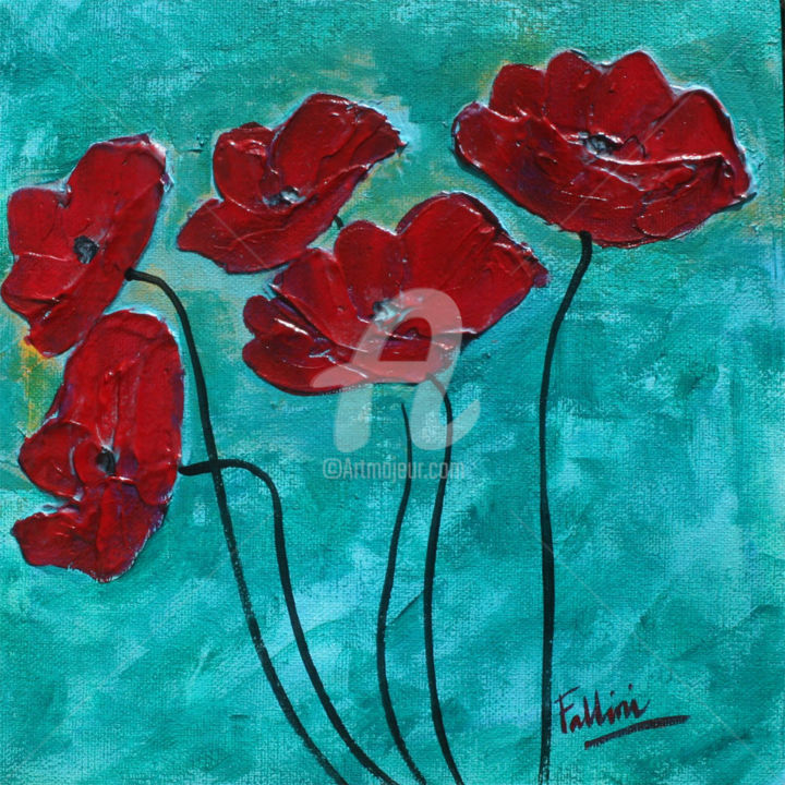 Red Poppies in the garden - Painting,  8x8x1.5 in ©2018 by Monica Fallini -                                                            Contemporary painting, Canvas, Flower, Poppies art, Poppies painting, contemporary art, Monica Fallini, artist Fallini, Poppies, red Poppies