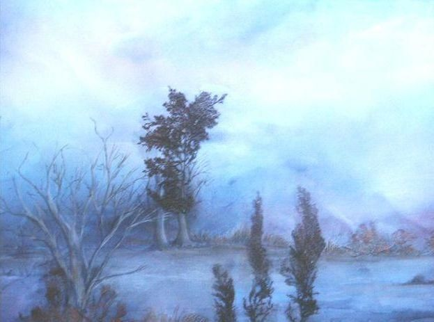N° 67 CREPUSCULE - Painting,  19.7x23.6 in, ©1998 by France -                                                                                                                                                                          Figurative, figurative-594, encres pastels algues crayons
