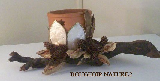 BOUGEOIR NATURE 1 - Artcraft,  4.7x11.8 in, ©2004 by France -                                                              bougeoir bois flotté