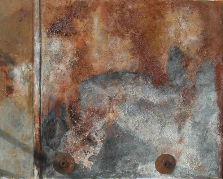 N°14 A Tole - Painting,  28.4x36.2 in, ©2014 by France -                                                              matières mixtes
