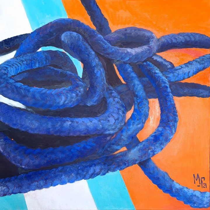 """Painting titled """"Giulietta's rope"""" by Maria Mikhaylova-Goldman, Original Art, Oil Mounted on Stretcher frame"""