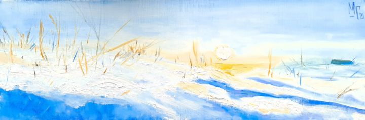 """Painting titled """"White Sun"""" by Maria Mikhaylova-Goldman, Original Art, Oil Mounted on Stretcher frame"""