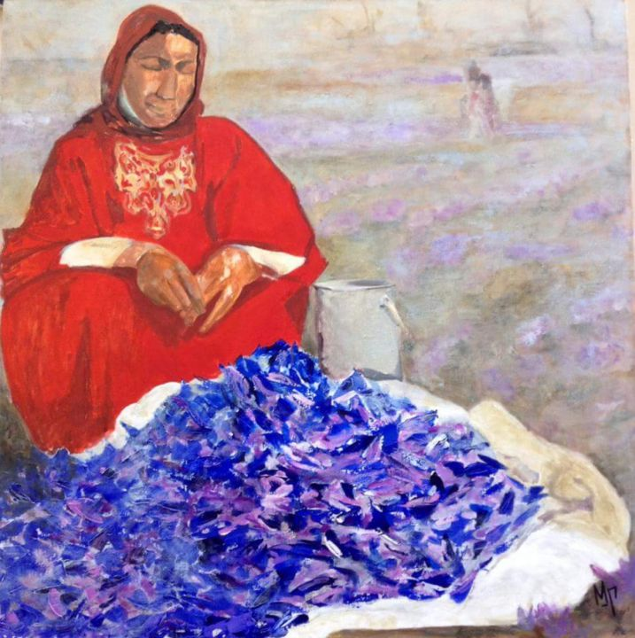"""Painting titled """"Crocuses. Tranquili…"""" by Maria Mikhaylova-Goldman, Original Art, Oil Mounted on Stretcher frame"""