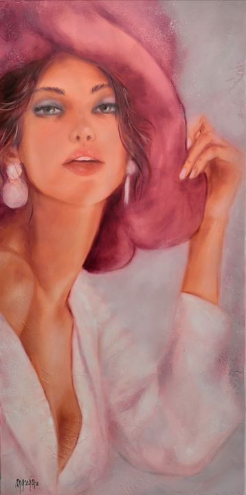 Élégante au chapeau rose - Peinture,  31,5x15,8 in, ©2020 par Martine Gregoire -                                                                                                                                                                                                                                                                                                                                                          Figurative, figurative-594, Corps, artwork_cat.Colors, Femmes, Mode, Nu