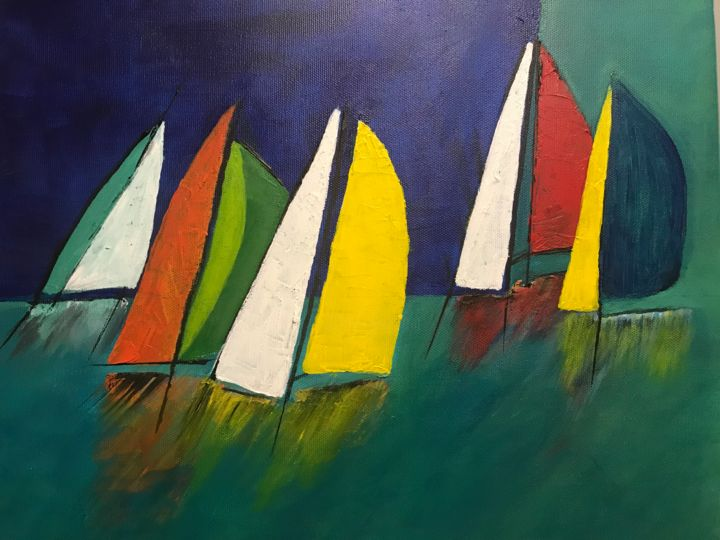 Regate - Painting,  13x15.8 in, ©2019 by Marie-hélène Burdy -                                                                                                                                                                                                                          Figurative, figurative-594, Sailboat, Regale voiliers colores