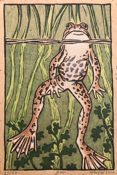 Frosch - Printmaking,  14.2x9.8 in, ©2006 by Margreet Duijneveld -                                                                                                                                                                          Figurative, figurative-594, Animals