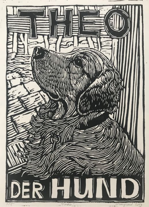 Theo der Hund (Golden Retriever) - Printmaking,  15.8x11.8 in, ©2019 by Margreet Duijneveld -                                                                                                                                                                          Figurative, figurative-594, Animals