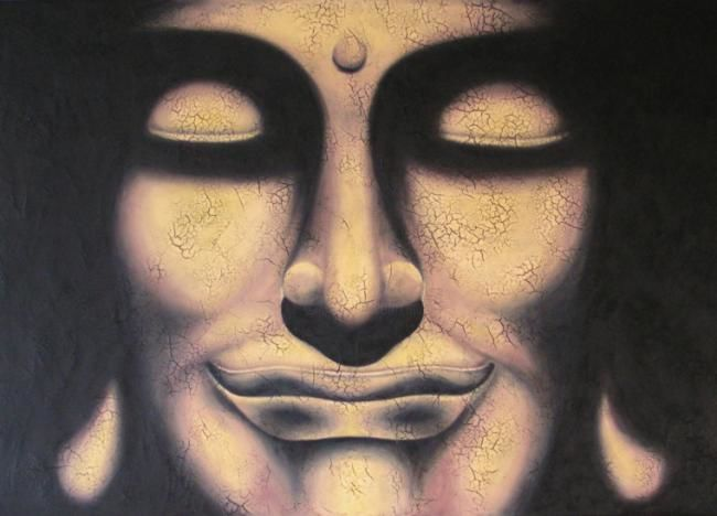 Buddha Or - Painting,  65x92 cm ©2007 by Chrystel Mialet -