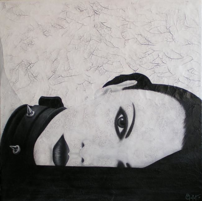 Noir... - Painting,  80x80 cm ©2009 by Chrystel Mialet -