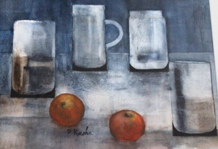 chopes et oranges - Painting,  11.4x15.4 in, ©2016 by dominique kuehn -                                                                                                                                                                          Figurative, figurative-594, Still life